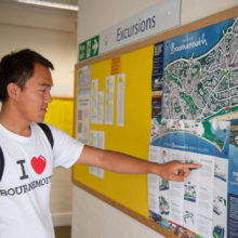Student points to map Bournemouth