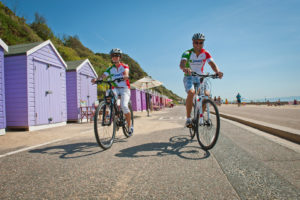 Cyclists on Bournemouth seafront